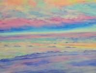 "Pink Sky Morning, Pastel 16""x20"" Matted and Framed,$400."