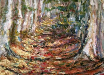 East Pond Trail, oil pastel