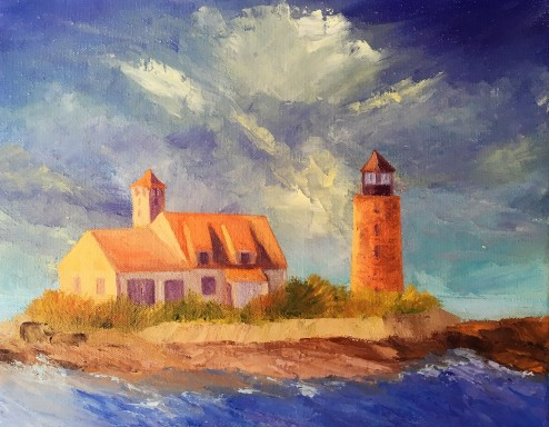 "Wood Island/Whaleback, 11""x14"" Oil"