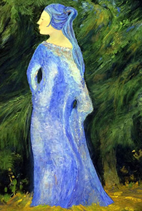 The Blue Lady, Pastel-Sold