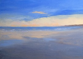 "Long Sands Winter, 11"" x 14"" Oil on Canvas, Framed, $450"