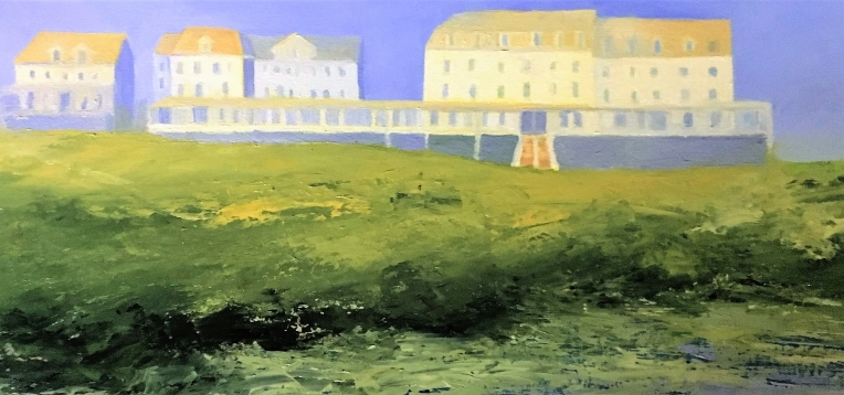 "Isles of Shoals Hotel, Oil on Canvas, 12""x 24"", $450"